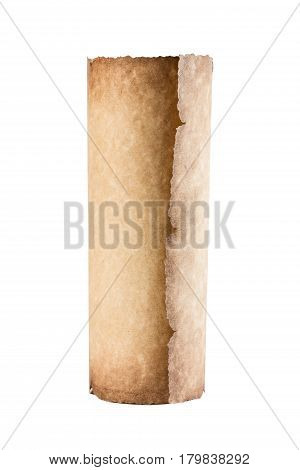 Old vintage scroll isolated on white background.