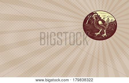 Business card showing Illustration of a hen in a farm with trees in the background set inside oval shape done in retro woodcut style.