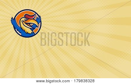 Business card showing Illustration of a hornbill or bucerotidae a bird with a a long down-curved bill looking to the side with open arms set inside circle done in cartoon style.