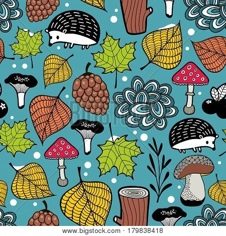Seamless pattern of winter coming. Nature illustration with forest plants and animals.