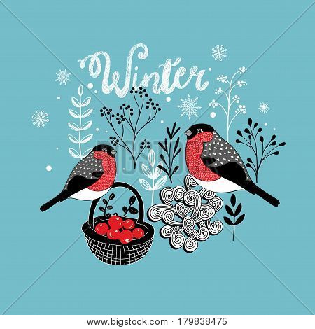 Two winter birds with the basket of berries. Vector illustration.