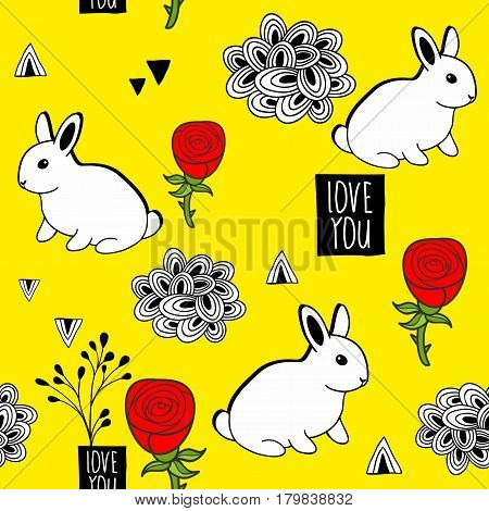 Very cute seamless pattern with white rabbits and romantic message. Vector illustration for wrapping paper, wallpaper, greetings card.