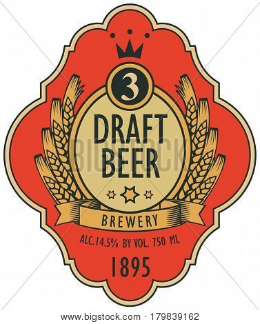 template vector beer label with coat of arms ears of wheat ribbon and crown in retro style