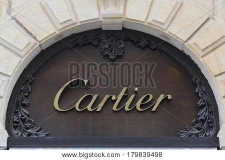 Lyon, France - February 26, 2017: Cartier is a French luxury goods conglomerate company. The company designs, manufactures, distributes and sells jewellery and watches