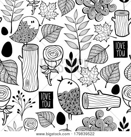 Black and white forest illustration for coloring. Seamless pattern in vector.