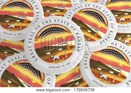 US State Buttons: Pile of Kansas Seal Badges 3d illustration