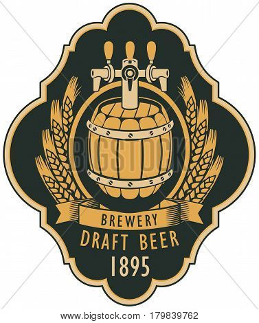 template vector beer label with barrel coat of arms ears of wheat and ribbon in retro style