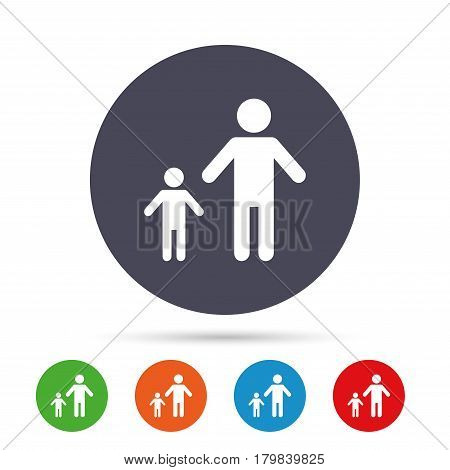One-parent family with one child sign icon. Father with son symbol. Round colourful buttons with flat icons. Vector
