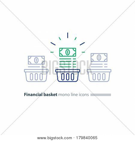 Financial diversification concept, Investment basket, budget planning, fund rising, split savings account, income growth, dividends vector mono line icon