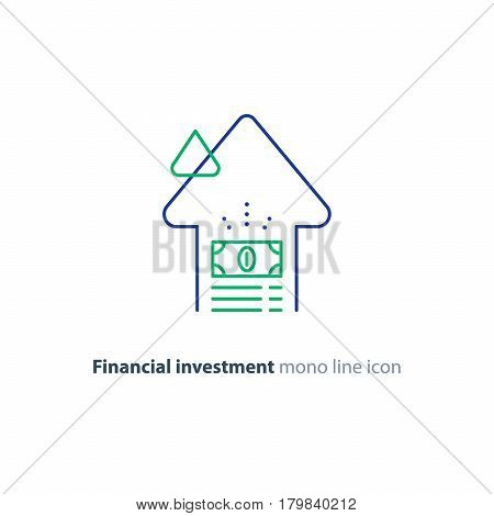 Financial investment strategy and management concept, finance planning logo, business start up money, pension plan, retire savings, superannuation, insurance mono line vector illustration