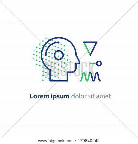 Neuroscience logo, psychology concept icon, artificial intelligence, vector line design