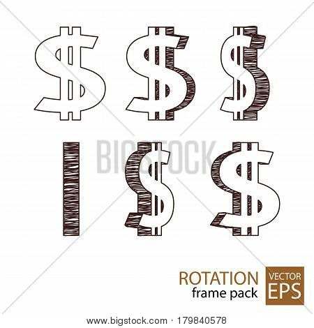 Dollar sign rotating icon set of frames for animation