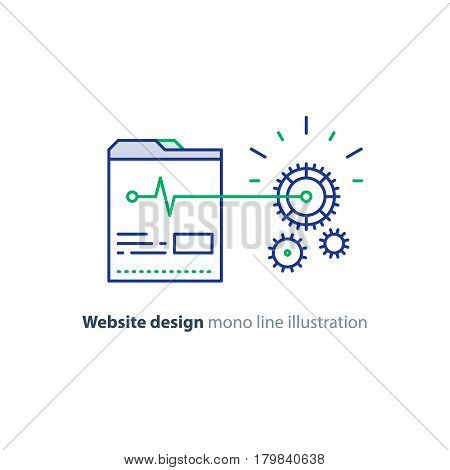 Web site promotion concept, website design and development, search optimization, internet traffic, cogwheel mechanism, vector line design