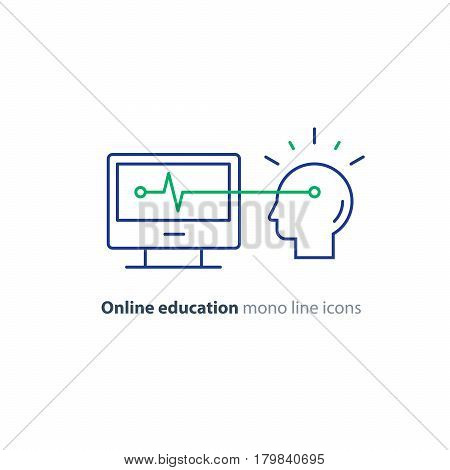 Online education concept, computer technology, artificial intelligence, vector mono line icon