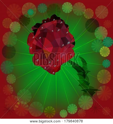 Red rose of polygons on fan shape background. Rose with waterdrops on a green background of polygons