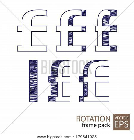 Pound sign rotating icon set of frames for animation