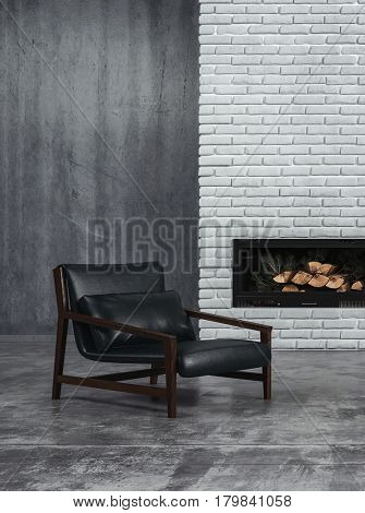 Sombre grey toned living room interior with black leather recliner chair and an unlit wood fire in the fireplace on a feature brick wall, 3d rendering