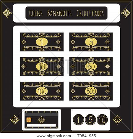 Vintage Set of vector banknotes coins credit cards for toy store games. Isolated on black. Money for playing shop market marketplace supermarket. Requisite for cash counter play games