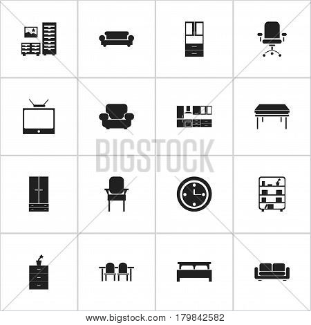 Set Of 16 Editable Home Icons. Includes Symbols Such As Davenport, Settee, Cooking Furnishings And More. Can Be Used For Web, Mobile, UI And Infographic Design.