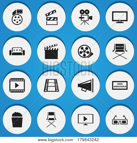 Set Of 16 Editable Cinema Icons. Includes Symbols Such As Theater Agency, Cinema Snack, Monitor And More. Can Be Used For Web, Mobile, UI And Infographic Design.