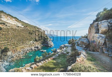 Scenic view over lagoon with turquoise sea water and the rocks at Mediterranean sea coast near Gazipasa, South Turkey on clear day. Typical landscape of South Mediterranean region