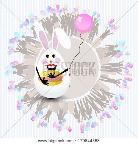Easter Cute Illustration. Rabbit-egg