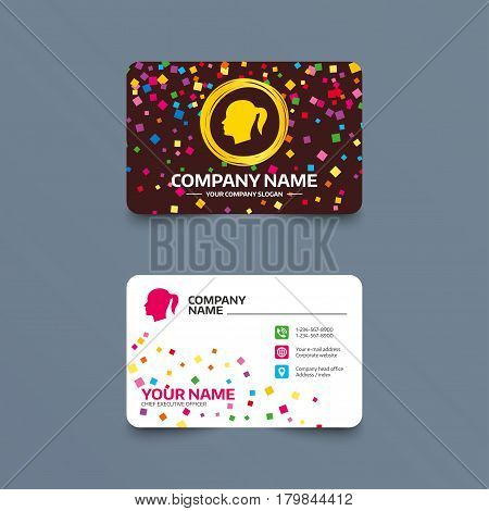 Business card template with confetti pieces. Head sign icon. Female woman human head with pigtail symbol. Phone, web and location icons. Visiting card  Vector