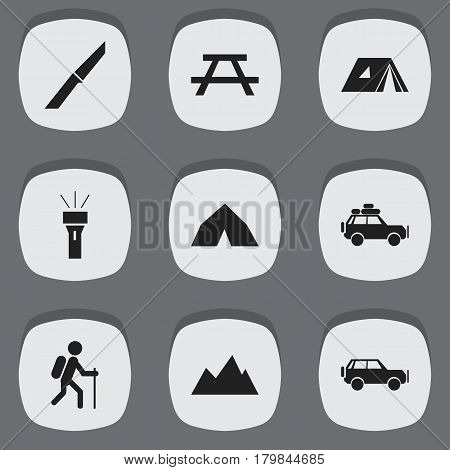 Set Of 9 Editable Camping Icons. Includes Symbols Such As Sport Vehicle, Shelter, Knife And More. Can Be Used For Web, Mobile, UI And Infographic Design.
