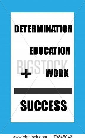 Determination plus Education plus work equals success sign with a blue border and black lettering