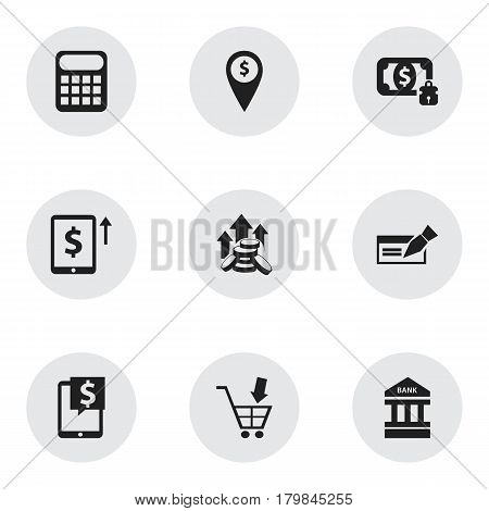 Set Of 9 Editable Finance Icons. Includes Symbols Such As Coins Raise, Bank Location, Banknote And More. Can Be Used For Web, Mobile, UI And Infographic Design.