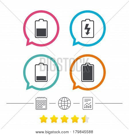 Battery charging icons. Electricity signs symbols. Charge levels: full, half and low. Calendar, internet globe and report linear icons. Star vote ranking. Vector