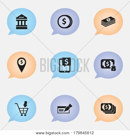 Set Of 9 Editable Finance Icons. Includes Symbols Such As Exchange Center, Money-Guard, Bucks And More. Can Be Used For Web, Mobile, UI And Infographic Design.
