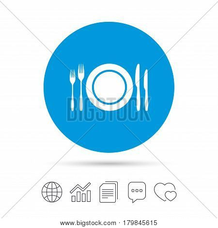 Plate dish with forks and knifes. Eat sign icon. Cutlery etiquette rules symbol. Copy files, chat speech bubble and chart web icons. Vector