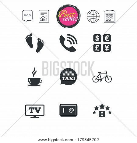 Chat speech bubble, report and calendar signs. Hotel, apartment services icons. Coffee sign. Phone call, kid-friendly and safe strongbox symbols. Classic simple flat web icons. Vector