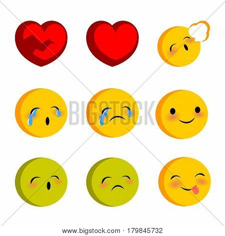 Emotional faces smiles cry sick set. Vector illustration smile icon. Face emoji yellow icon. Smile cute funny emotion face on transparent background. Red heart, sad expression message, sms.