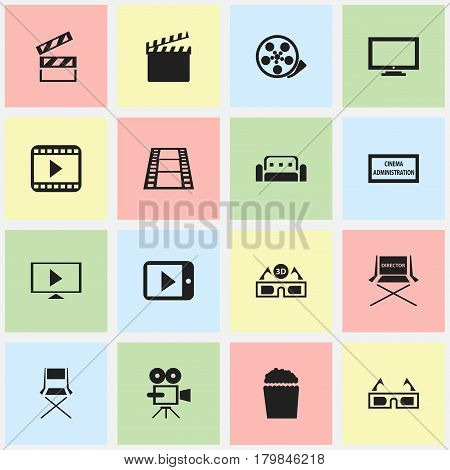 Set Of 16 Editable Movie Icons. Includes Symbols Such As Theater Agency, Monitor, Shooting Seat And More. Can Be Used For Web, Mobile, UI And Infographic Design.
