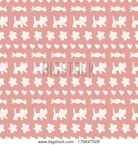 Sweet hand drawn vector seamless pattern with cats candies flowers and hearts in white over pink background.