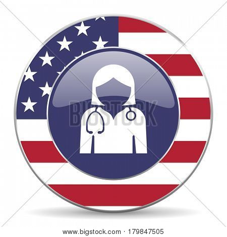 Doctor usa design web american round internet icon with shadow on white background.