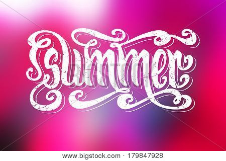 Hand drawn textured word Summer over abstract smooth blur pink background.