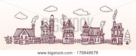 Hand drawn street with cozy european houses. Vector banner. Horizontal vintage Illustration.