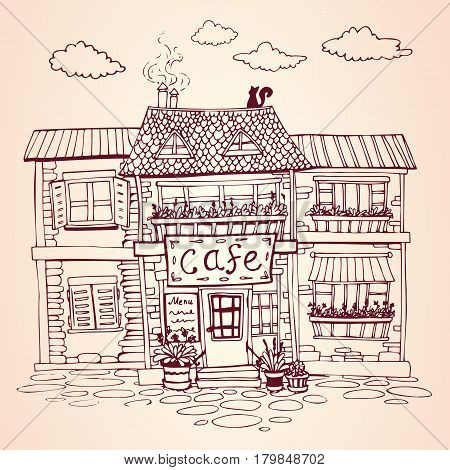 Vintage european street. Cozy cafe house. Hand drawn Vector Illustration. For print and decoration.