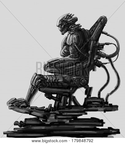 Dark lord sits in suit on his iron throne. Science fiction illustration. Original character the alien astronaut in space body armour. Freehand digital drawing sketch.