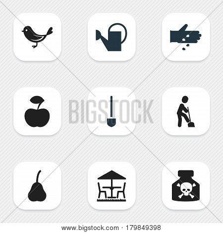 Set Of 9 Editable Agriculture Icons. Includes Symbols Such As Fresh Fruit, Sparrow, Bailer And More. Can Be Used For Web, Mobile, UI And Infographic Design.