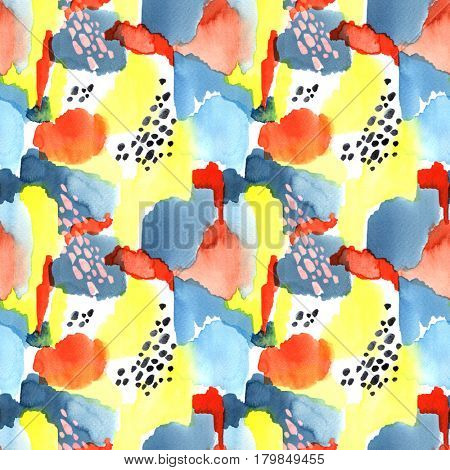 Hand drawn bright abstract watercolor seamless pattern