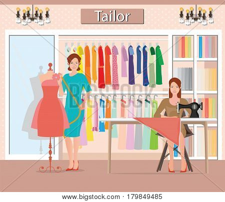 Boutique indoor of woman's cloths fashion tailor shop Clothing store interior building vector illustration.
