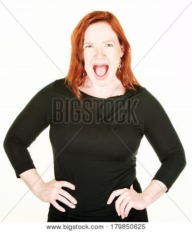Yelling Single Woman With Red Hair