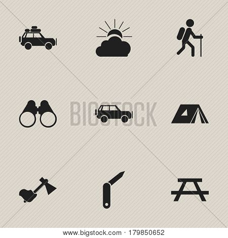 Set Of 9 Editable Trip Icons. Includes Symbols Such As Clasp-Knife, Sunrise, Sport Vehicle And More. Can Be Used For Web, Mobile, UI And Infographic Design.