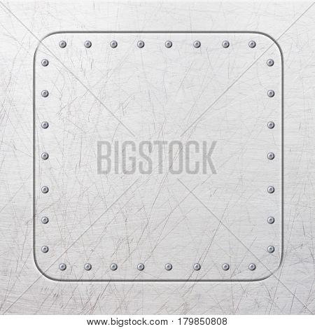 Square Metal Frame, Steel Plate For Background, Illustration, 3D