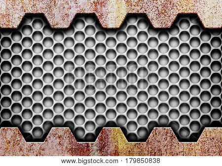 Texture Rusty Metal Grid On The Background, Illustration, 3D