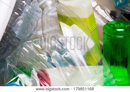 Photo of utilized plastic bottles